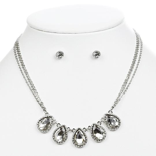 Mariell Textured Silver Frame Teardrops Necklace Set 4364s-s