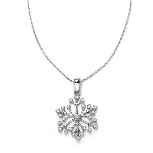 Mariell Silver Winter Cubic Zirconia Snowflake Pendant 3758n Necklace