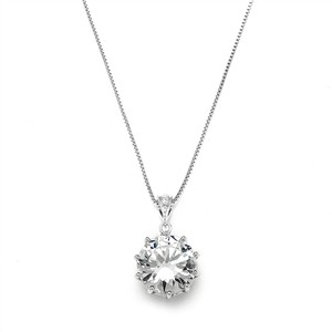 Mariell Silver Prom Or Bridesmaids Bling Cz Pendant 4083n Necklace