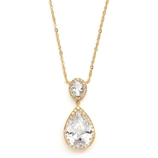 Mariell Couture Cubic Zirconia Pear-shaped Bridal Necklace 2074n-g