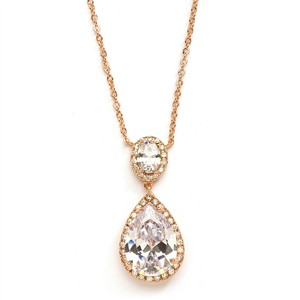 Mariell Rose Gold Couture Cubic Zirconia Pear-shaped 2074n-rg Necklace
