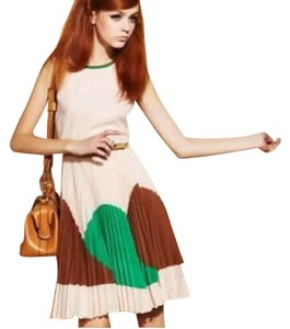 Brown,White and Green Maxi Dress by