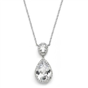 Mariell Couture Cubic Zirconia Pear-shaped Bridal Necklace 2074n-s