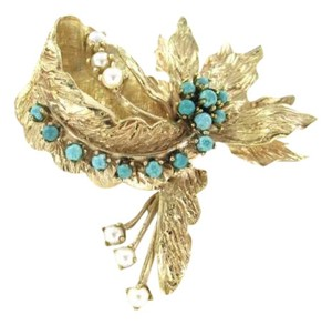 14K YELLOW GOLD PIN BROOCH 7.4DWT VINTAGE TURQUOISE PEARL STATE FLOWER BOW LEAF