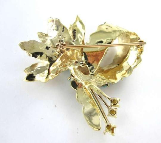 Other 14K YELLOW GOLD PIN BROOCH 7.4DWT VINTAGE TURQUOISE PEARL STATE FLOWER BOW LEAF