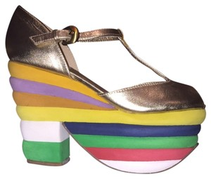 Jeffrey Campbell Gold W/multi Colored Wedge Platforms