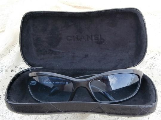 Chanel CHANEL Avaitor SUNGLASSES Case Black Frame Blue lens Authentic