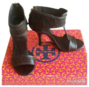 Tory Burch Heels Gold T-strap Brown Sandals