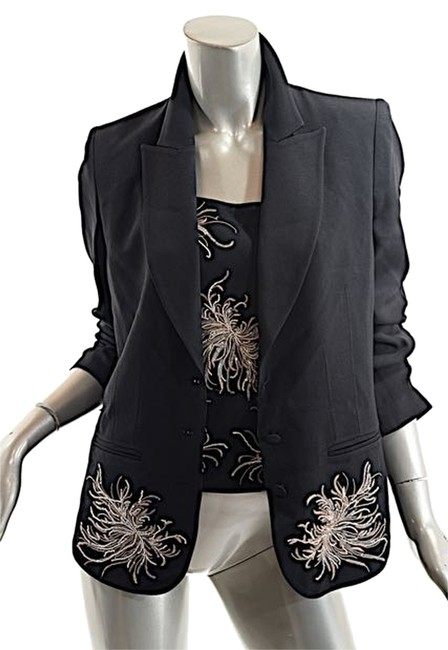 Preload https://img-static.tradesy.com/item/3475672/sonia-rykiel-black-wsequins-acetaterayon-crepe-jacket-camisole-duo-wbeading-42us10-blazer-size-10-m-0-0-650-650.jpg