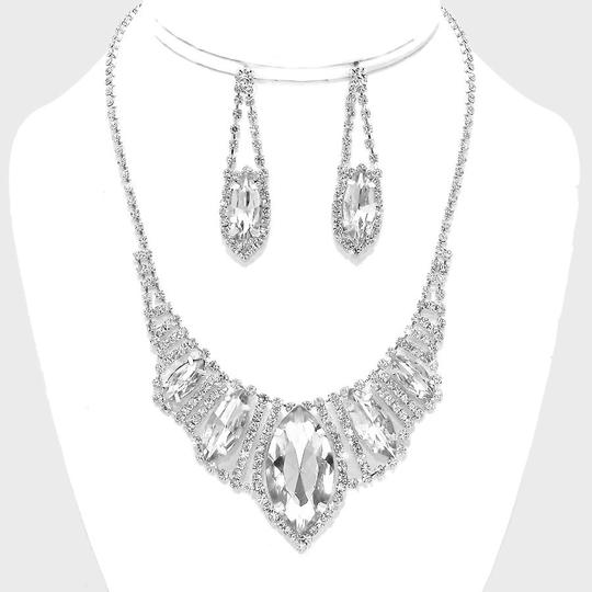 Silver/Rhodium and Clear Crystal Marquise Teardrop Evening Prom Necklace Earring Jewelry Sets