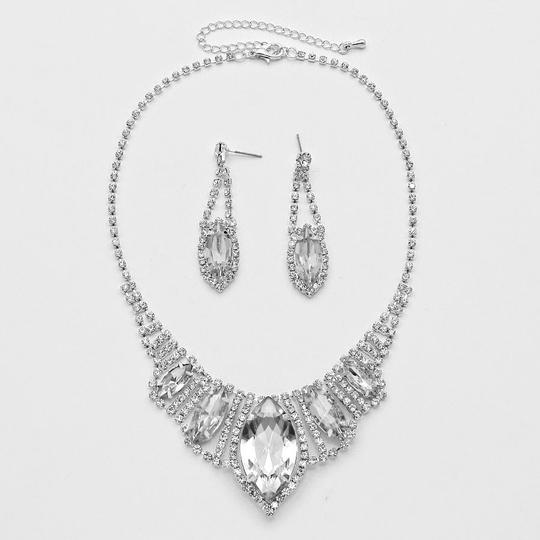 Silver/Rhodium and Clear Crystal Marquise Teardrop Evening Prom Necklace Earring Jewelry Set
