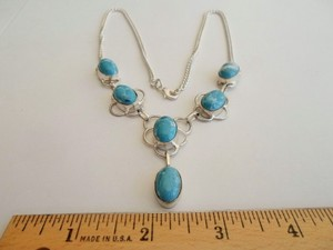 Silver & Turquoise Y Necklace Free Shipping
