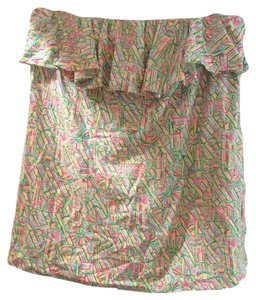 Lilly Pulitzer Top White, green, yellow, light blue, hot and light pink
