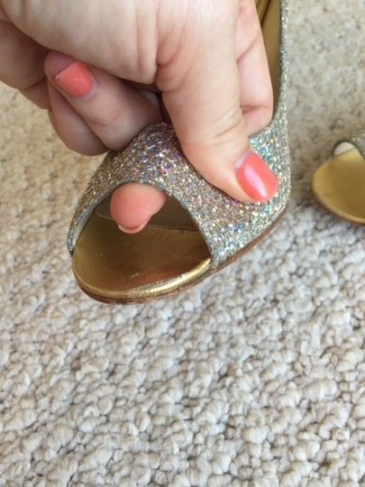 Enzo Angiolini Glitter Heels Iridescent Silver & Gold Pumps