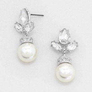 Cream and Clear Crystal Elegantly Chic Drop Evening Earrings