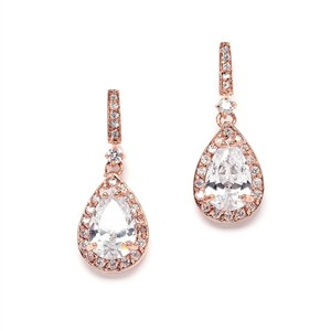 Mariell Rose Gold And Cubic Zirconia Bridal Earrings With Framed Pear Drops 4058e-rg