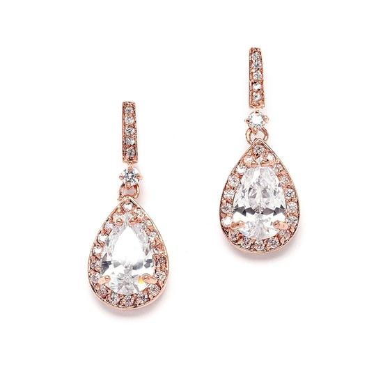 Mariell Rose Gold And Cubic Zirconia with Pear Drops 4058e-rg Earrings