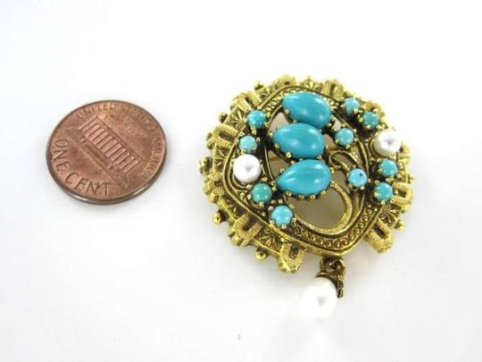 Vintage 14KT YELLOW GOLD PIN BROOCH 7.6DWT VINTAGE TURQUOISE PEARL PENDANT VICTORIAN