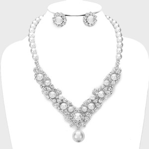 White and Clear Crystal Elegant Retro Cz Pearl Party Earring Necklace