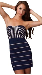 Minuet Petite short dress Navy Blue and White Strapless Striped Night Out on Tradesy
