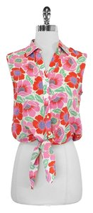Theory Floral Tie Waist Sleeveless Top Pink