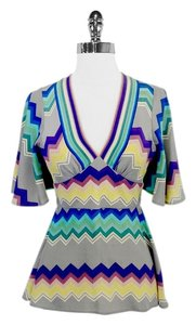Plenty by Tracy Reese Zig Zag Print Silk Cutout Top