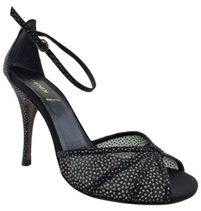 Fendi Studded Ankle Strap Silver Hardware Logo Leather Black Pumps