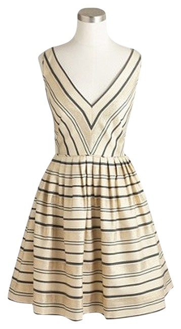 Item - Black/Gold/White Candy Factory Schuyler Wrap Item 43721 Mid-length Night Out Dress Size 14 (L)