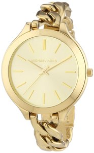 Michael Kors Michael Kors Slim Runway Champagne Dial Gold-Plated Chain Bracelet Ladies Watch 42mm MK3222