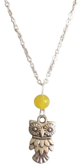 Other Owl yellow jade sterling silver filled necklace