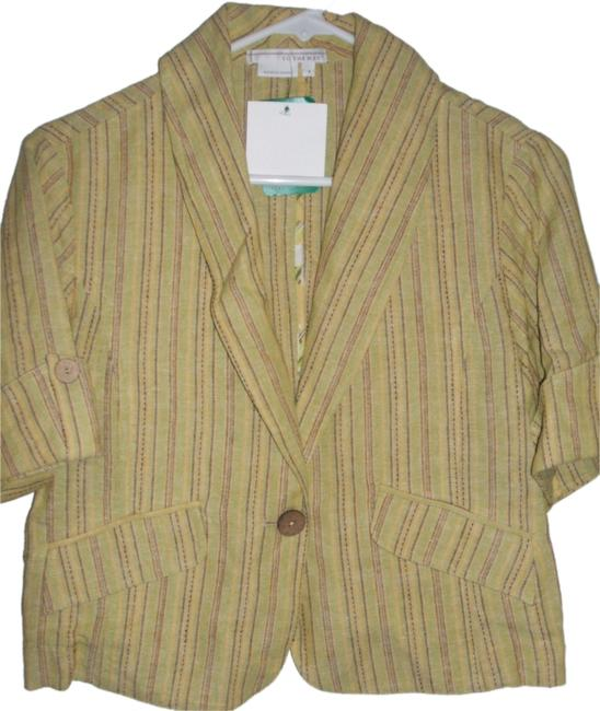 Preload https://item3.tradesy.com/images/to-the-max-yellow-women-s-short-sleeve-jacket-blazer-linenrayon-s-new-blouse-size-6-s-3478867-0-0.jpg?width=400&height=650