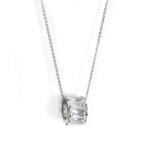 "Mariell Silver Designer Floating Band"" Pendant with Cz Baguettes 4267n Necklace"