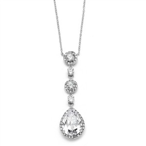 Mariell Silver Best-selling Pear-shaped Drop with Pave Cz 400n Necklace