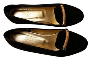 Joan & David & Suede Hand Made In Italy Golden Braid Black Flats