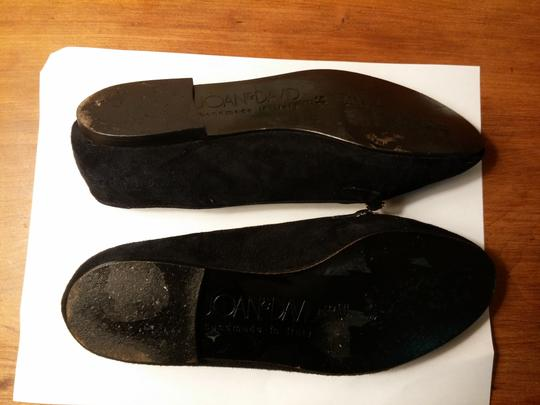 Joan & David Suede Hand Made In Italy Golden Braid Black Flats