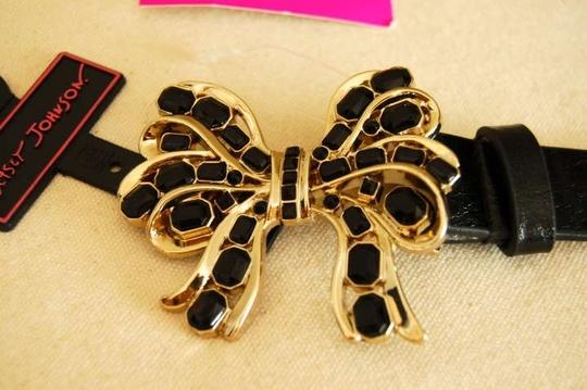 Betsey Johnson Black belt with Gold Bow and Black Jewels
