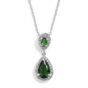 Mariell Top-selling Emerald Cubic Zirconia Teardrop Wedding Or Bridesmaids Pendant 4036n-em
