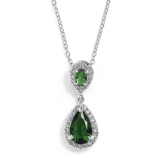 Mariell Emerald Top-selling Cubic Zirconia Teardrop Bridesmaids Pendant 4036n-em Necklace