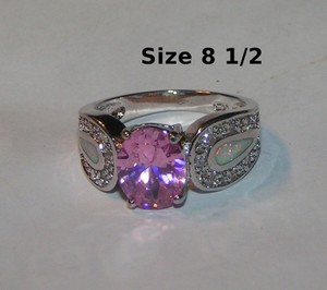 Large Pink Topaz & Opal Fashion Ring Free Shipping