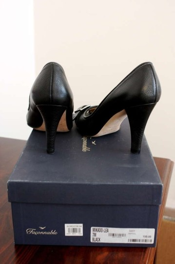 Faonnable Stitching Peep Toe Matte Black Pumps