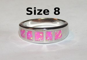 Pink Angel Opal Fashion Band Ring Free Shipping