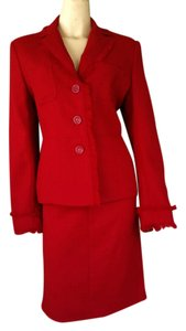 Philippe Adec ADEC Rouge Ligne Red line Textured Skirt Suit 8/12