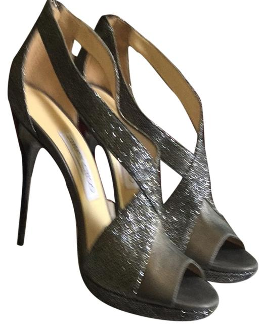 Jimmy Choo Silver Gray with Black Heel Anthracite. Glitter/Metallic Napa Pumps Size US 8 Regular (M, B) Jimmy Choo Silver Gray with Black Heel Anthracite. Glitter/Metallic Napa Pumps Size US 8 Regular (M, B) Image 1