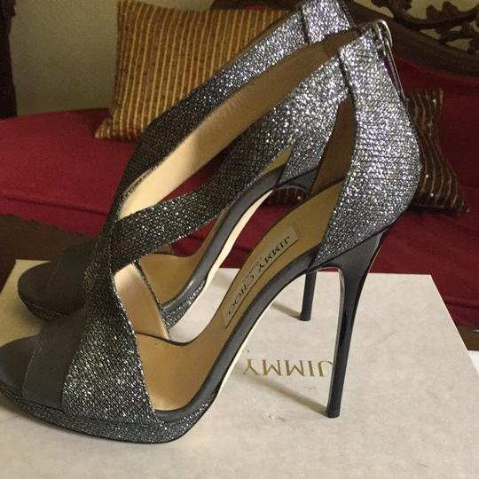 Jimmy Choo Silver Gray With Black Heel Pumps