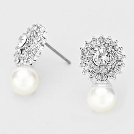 White Clear Crystal Elegantly Chic and Pearl Drop Stud Evening Earrings