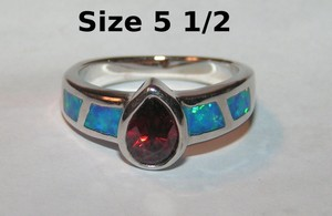 Petite Garnet & Opal Fashion Ring Free Shipping