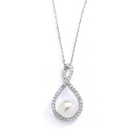 Eternal Love Crystals & Pearl Pendant Bridal Necklace