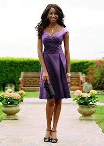 David's Bridal Purple- Bright Plum Polyester Style F12723 Formal Bridesmaid/Mob Dress Size 6 (S)