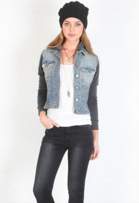 JET John Eshaya Denim and gray Womens Jean Jacket