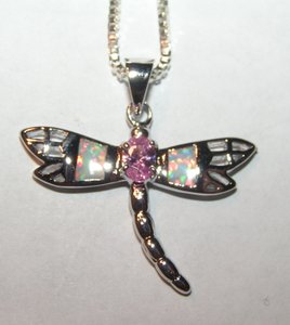 Opal Dragonfly Pendant Free Chain & Shipping
